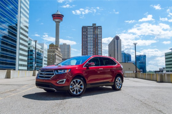 2013 Ford Edge with the Calgary Tower