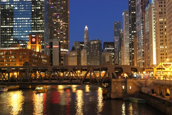 Twilight on the Chicago River.
