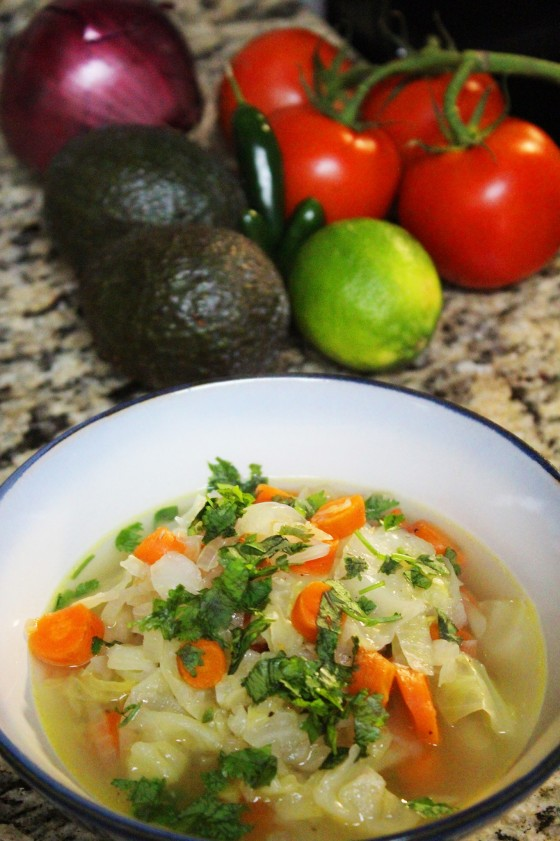 Soup Du Jour cabbage, organic carrots, onion, sea salt, black ground pepper, extra virgin olive oil, serrano pepper, cilantro.