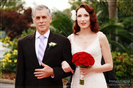 Happy father, nervous bride