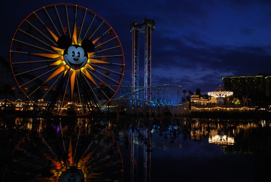 Paradise Pier at Disney's California Adventure just beginning to light up the night.