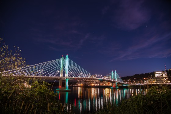 Tilikum Bridge at night