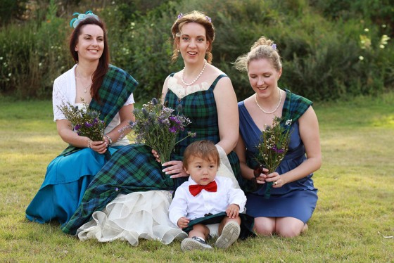 Suzanne and her bridesmaids - and a cheeky little chap
