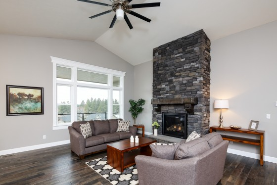 Living Room with Stone Fireplace, Real Estate