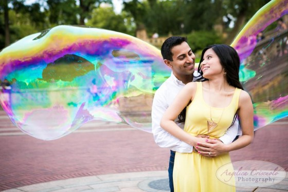 Central Park engagement photos with bubbles