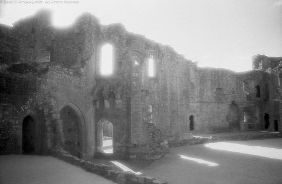Raglan Castle Shadows Monmouthshire, Wales Infrared Film, 2009