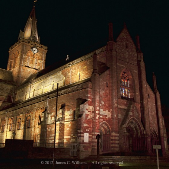 St. Magnus Cathedral at Night, Kirkwall, Orkney Islands, Scotland