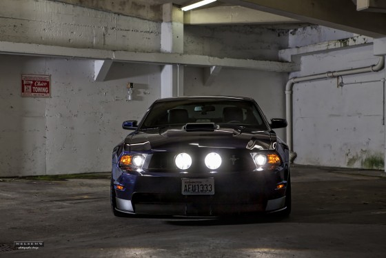 Mustang in parking garage