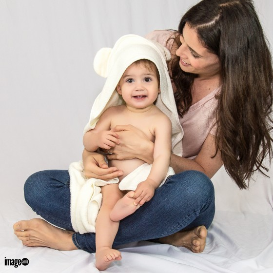 Photoshoot for a line of bamboo baby bath cloths and towels.