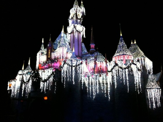 Sleeping Beauty's Castle at Disneyland in Anaheim, California. Lit up with icicles for Christmas.