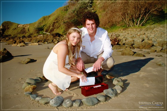 A beach elopement with a stone ceremony