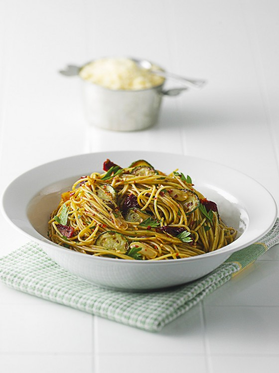 Spaghetti with Zucchini and Sun Dried Toamoes