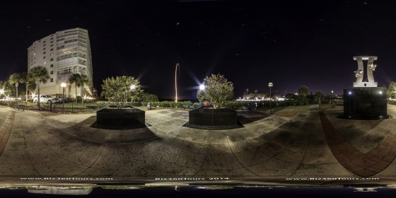 360 degree panoramic of an Atlas 5 rocket launch from Titusville, Florida