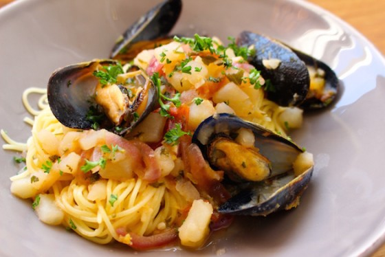 Mussels and pasta recipe.